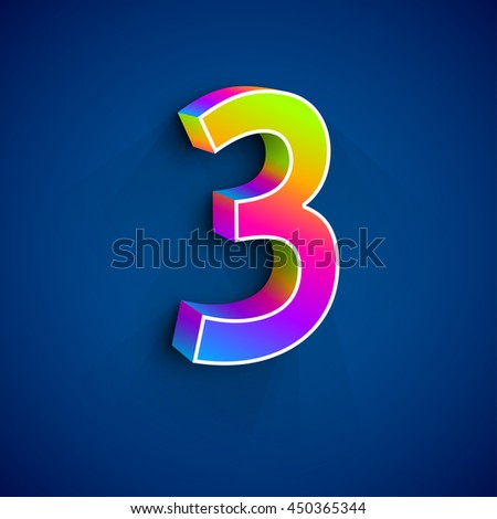 Vector 3d Number Three. Colorful figure 3 on Blue Background