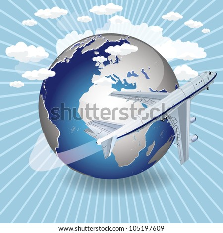 vector 3d passenger jet airplane travels around the world