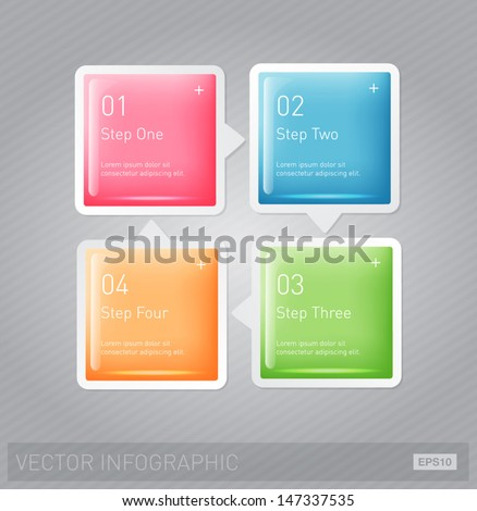 Vector 3d plastic glossy infographic design layout - square progress banners