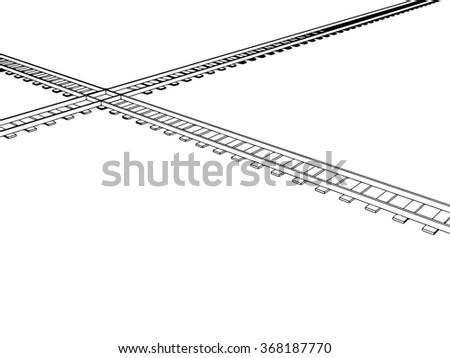 vector 3d railway  railroad
