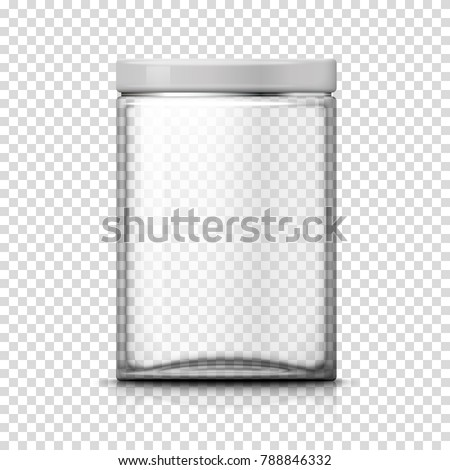 Vector 3d realistic big transparent glass jar on plaid background. Mock-up for product package branding.