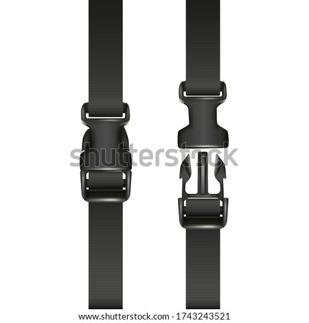 Vector 3d realistic black dual quick release buckle with a strap, closed and opened. Isolated on white background. Сток-фото ©