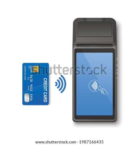 Vector 3d Realistic Black Wi-Fi Payment Machine and Credit Card. POS Terminal Isolated. Design Template, Bank Payment Terminal, Mockup. Processing NFC Payments Device. Top View