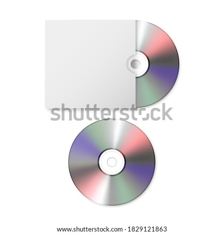 Vector 3d Realistic Blank CD, DVD with Paper Cover Case Box Set Closeup Isolated on White Background. Design Template for Mockup. CD Packaging Copy Space. Top View Stock photo ©