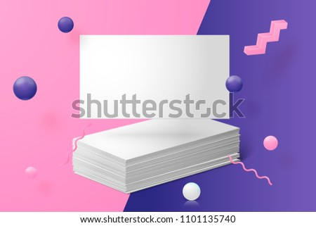 Vector 3d realistic business card abstract scene with violet, pink and white balls and objects.