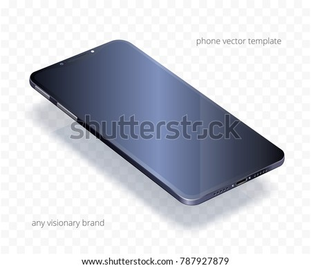 Vector 3d realistic cell phone. Black glossy template of any smartphone with a blank display. Visionary modern device is in perspective view. Dark floating mock up for presentations of mobile apps.