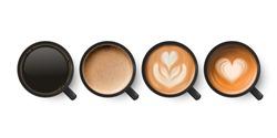Vector 3d Realistic Ceramic Porcelain Black Coffee Mug, Cup, Milk Coffee, Foam Set Isolated. Espresso, Cappuccino, Latte. Flower, Heart Pattern. Vector Illustration. Design Template. Top View