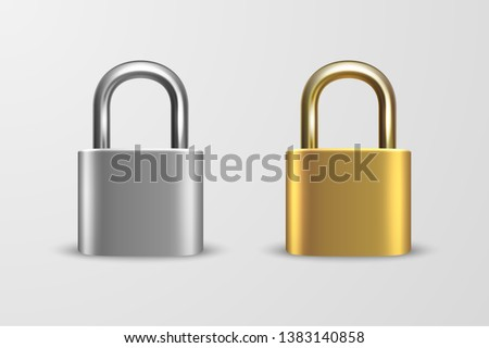 Vector 3d Realistic Closed Metal Golden and Silver Padlock Icon Set Closeup Isolated on White Background. Design Template of Gold, Steel Lock for Protection Privacy, Web and Mobile Apps, Logo