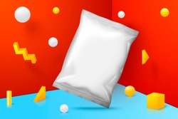 Vector 3d realistic corner wall abstract scene with chips pack, yellow, white and blue balls and objects.
