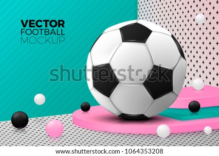Vector 3d realistic corner wall abstract scene with text, podium and football ball, pink, white, black and green balls and objects.