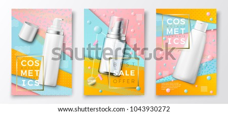 Vector 3d realistic cosmetic bottles advertisement poster templates,on bright modern background with geometric shapes. Mock-up for product package branding. Mousse, spray and shampoo bottles.