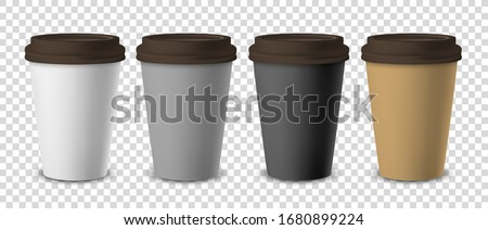 Vector 3d Realistic Disposable Closed Paper, Plastic Coffee Cup for Drinks with Brown Lid Set Closeup Isolated on Transparent Background. Design Template, Mockup. Front View