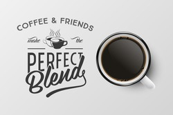 Vector 3d Realistic Enamel Metal White Mug, Black Espresso or Mocha Coffee Inside Isolated on White Background. Typography Quote, Phrase about Coffee. Stock Illustration. Top View