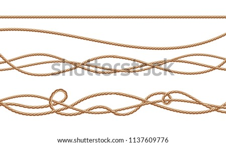 Vector 3d realistic fiber ropes - straight and tied up. Jute or hemp twisted cords with loops isolated on white background. Decorative elements with brown packthread.