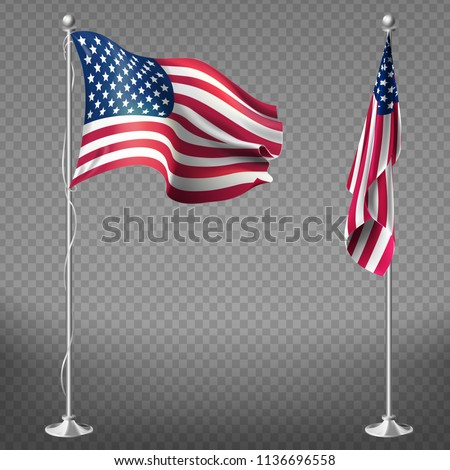 Vector 3d realistic flags of United States of America on steel poles isolated on transparent background. National symbol of USA, silk waving banner with red and white stripes, with stars on blue color