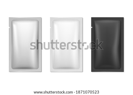 Vector 3d Realistic Foil, White, Black Long Slim Blank Packaging Set Isolated on White. Coffee, Tea, Salt, Sugar, Spices, Sachet, Wet Wipe Wrapper. Design Template, Packing, Mockup. Top View