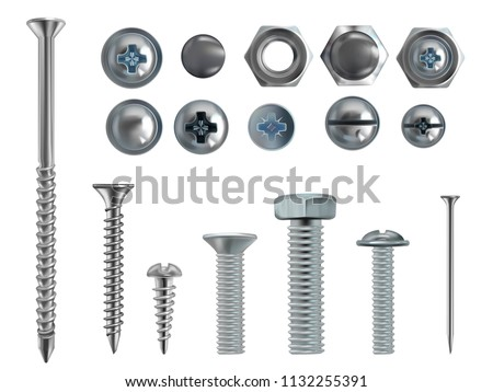 Vector 3d realistic illustration of stainless steel bolts, nails and screws on white background. Top and side view of industrial chrome hardware, different heads with nuts and washers