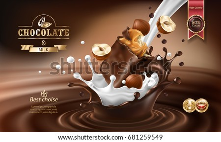 Vector 3D realistic illustration, splashes of melted chocolate and milk with falling piece of chocolate bar and hazelnuts. Chocolate bar packaging design, template, advertising poster for promotion