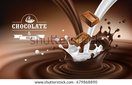 Vector 3D realistic illustration, splashes of melted chocolate and milk with falling pieces of chocolate bars. Milk chocolate packaging design, template, advertising poster