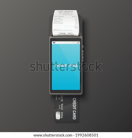 Vector 3d Realistic Payment Machine, Receipt, Plastic Credit Card. POS Terminal, Paper Receipt, Payment Card. Design Template, Bank Payment Terminal, Mockup. Processing NFC Payments Device. Top View