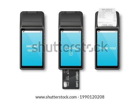 Vector 3d Realistic Payment Machine Set. POS Terminal, Paper Receipt, Credit Card Isolated. Design Template, Bank Payment Terminal, Mockup. Processing NFC Payments Device. Top View