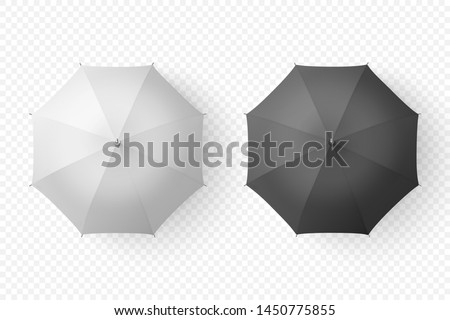Vector 3d Realistic Render White and Black Blank Umbrella Icon Set Closeup Isolated on Transparent Background. Design Template of Opened Parasols for Mock-up, Branding, Advertise etc. Top View