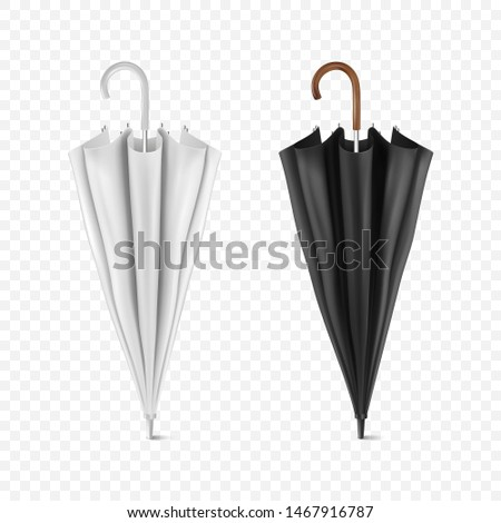 Vector 3d Realistic Render White and Black Blank Umbrella Icon Set Closeup Isolated on Transparent Background. Design Template of Closed Parasols for Mock-up, Branding, Advertise etc. Front View