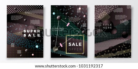Vector 3d realistic Sale paper memphis style poster templates, dark modern background with geometric shapes.  #1031192317