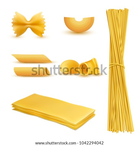 Vector 3d realistic set of dry macaroni in various shapes, pasta, lasagna, farfalle, spaghetti, rigatoni, penne isolated on background. Traditional italian cuisine, natural food rich in carbohydrates