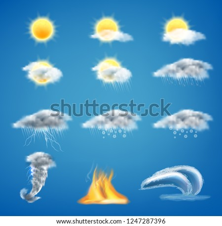 Vector 3d realistic set of weather forecast icons for web interfaces or mobile apps, isolated on blue background. Meteorology symbols clipart, sunny day, gray clouds with rain, tornado, tsunami