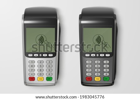Vector 3d Realistic Silver, Black Payment Wi-Fi Machine Set. POS Terminal Closeup Isolated. Approved Payment. Design Template, Bank Payment Terminal, Mockup. Processing NFC Payments Device. Top View