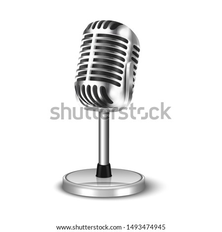 Vector 3d Realistic Steel Retro Concert Vocal Microphone with Stand Icon Closeup Isolated on White Background. Design Template of Vintage Karaoke Metal Mic. Front view