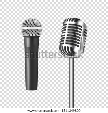 Vector 3d Realistic Steel Silver Retro Concert Vocal Stage Microphone Icon Set Closeup Isolated on Transparent Background. Design Template of Vintage Classic Karaoke Metal Mic. Front view