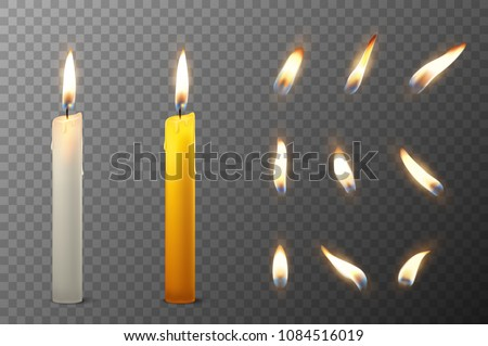 Vector 3d realistic white and orange paraffin or wax burning party candle and different flame of a candle icon set closeup isolated on transparency grid background. Design template, clipart for