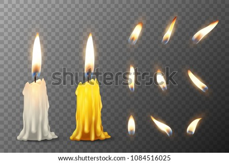 Vector 3d realistic white and orange paraffin or wax burning party candle or candle stump and different flame of a candle icon set closeup isolated on transparency grid background. Design template