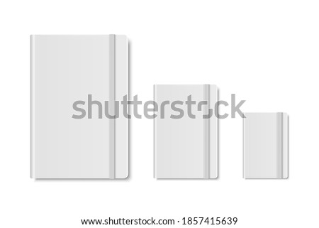 Vector 3d Realistic White Closed Blank Paper Notebook Set Isolated on White Background. A4, A5, A6, A7. Design Template of Copybook with Elastic Band for Mockup, Advertise, Logo Print. Front. Top View