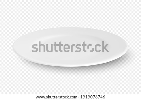 Vector 3d Realistic White Empty Porcelain, Ceramic Plate Icon Closeup Isolated on Transparent Background. Design Template for Mockup. Stock Vector Illustration. Front, Top, Side View