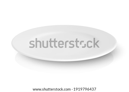 Vector 3d Realistic White Empty Porcelain, Ceramic Plate with Reflection Closeup Isolated on White Background. Design Template for Mockup. Stock Vector Illustration. Front, Top, Side View