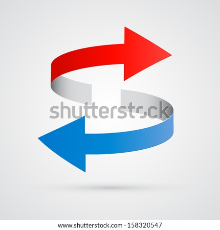 vector 3d red and blue arrows #158320547