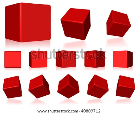 vector 3d red cubes with reflections