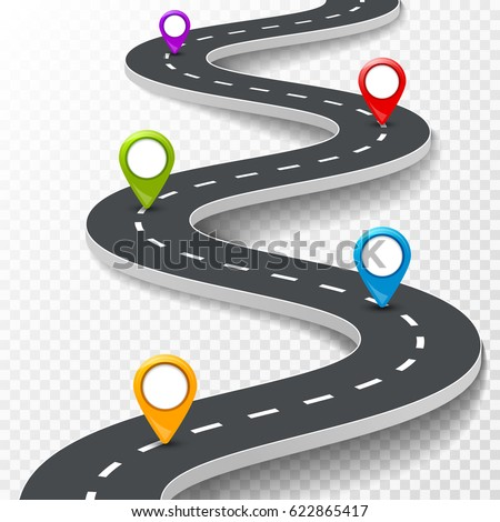 Vector 3d road infographic illustration with pin, pointer. Street information concept. Asphalt road infographic and colorful pins on transparent.