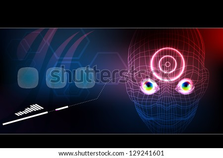 Vector 3D robot face, cyborg, artificial intelligence technology background concept