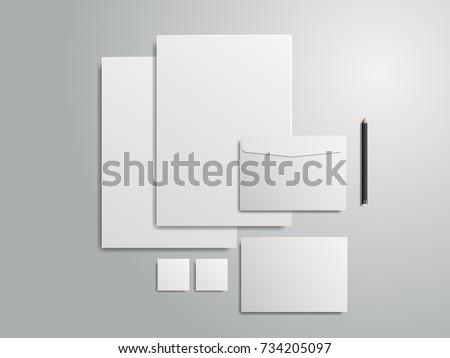 Vector 3d Set of identity for branding on gray background. illustration