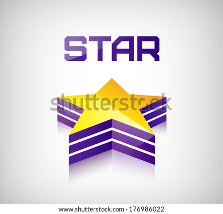 vector 3D shiny star icon logo