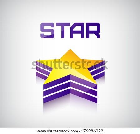 vector 3D shiny star icon logo