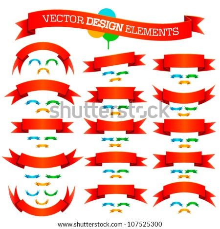 Vector 3d simple banner graphic design set