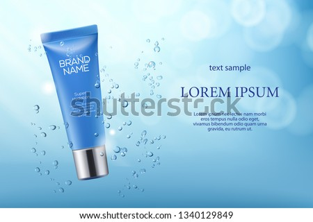 Vector 3D skincare cosmetic illustration hydration product packaging. Mock-up tube in a blue water background