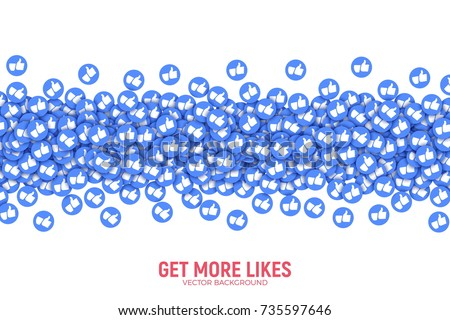Vector 3D Social Network Like Thumb Up Blue Icons Abstract Illustration Isolated on White Background. Design Elements for Web, Internet, App, Analytics, Promotion, Marketing, SMM, CEO, Business