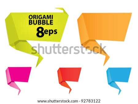 vector 3d speech bubbles set. Origami set.