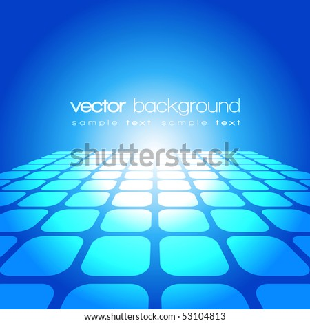 Vector 3D square on the blue background with text